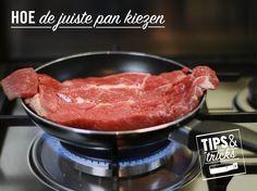 Ga voor de juiste grootte. Een te grote pan zal te heet worden, een te kleine pan zal geen smaakvolle of bruine kleur geven. #tipstricks