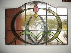Circa Art Nouveau hand made stained glass Window. Stained Glass Light, Stained Glass Door, Stained Glass Designs, Stained Glass Projects, Stained Glass Patterns, Victorian Stained Glass Panels, Leaded Glass, Fused Glass, Broken Glass Art