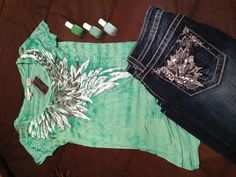 Miss Me Jeans, Miss Me t-shirt and Essie nail polishes in Mojito Madness, Turquoise & Caicos, Mint Candy Apple