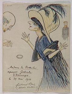 Bac Ferdinand, Madame de Noailles saw Gabriele d'Annunzio, 27 May 1910, 22 x 17 cm, Bibliothèque de l'Institut, Paris