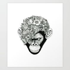 """Noah's ART """"Botanical Ape"""" @ society6"""