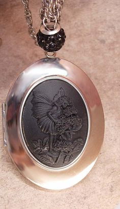 Whimsical Fairy Cameo Locket necklace Flapper by vintagesparkles, $145.00