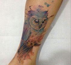 Watercolor Owl Tattoo On Leg