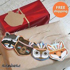 12 x Kids Birthday Gift Tags Message Christmas Fun Tribal Animal Childrens Wrap