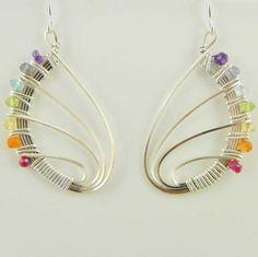 """""""Rainbow Butterfly Wings"""" Earrings Handmade Wire Wrap Gemstones"""