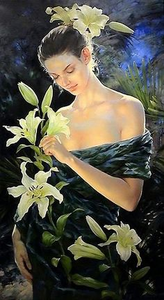 green - woman and flowers - Yuri Yarosh - figurative painting