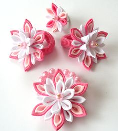 Kanzashi fabric flowers Set of 4 pieces  Hot pink lt pink by JuLVa, $18.00