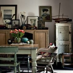 Nostalgic home offers many beautifully displayed collections. A wonderful kitchen table with many stories to tell. www.madblossom.com.au