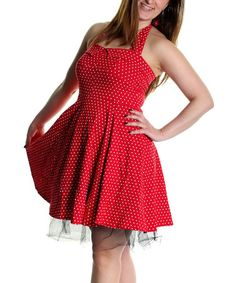 Look what I found on #zulily! Red Polka Dot Tulle Flare Dress by Tenki #zulilyfinds
