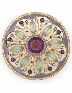 HEINRICH LEVINGER - A Jugendstil silver, part gold plated, plique-à-jour enamel, amethyst and pearl brooch, Pforzheim, 1900-10. 11.9mm diameter.