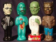 Universal Monsters Soaky Bubble Bath bottles, 1960s.