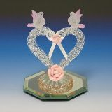 hand crafted spun glass heart collectible with two doves and porcelain flowers...PERFECT for a small cake topper (anniversary, valentines day cake, etc...); $12.99 only!