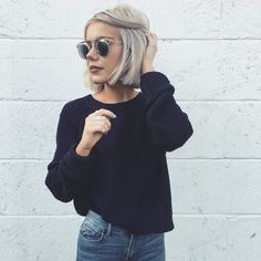 Laura Jade Stone looking fabulous in our navy blue 'Riikka Cotton Knit' | Scandinavian Style | #laurajadestone