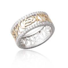 Obrączka srebrna ażurowa z cyrkoniami