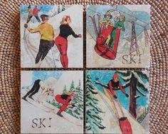 Natural Stone Coaster Set  Humorous Vintage Skiers  by SkiGoods