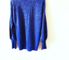 Deep Blue Vintage Sparkle Sweater / Vintage by thehappyforest