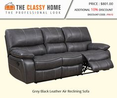 Grey Black Leather Air Reclining Sofa