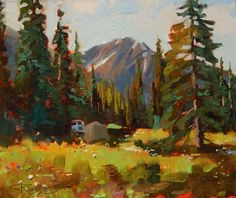 Lake Irwin Camp Crested Butte, plein air, landscape painting by Robin Weiss Original art painting by Robin Weiss - DailyPainters.com