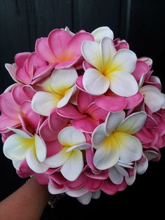Posy of Artificial Frangipani in Fuchsia and White/Yellow. Created by Wedding Flowers & Coffee Cups