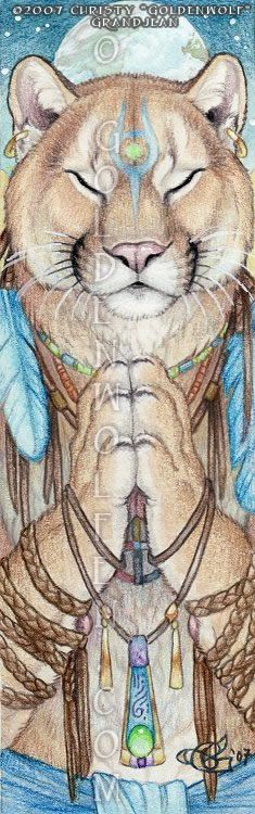 Earth Prayer  A cougar prays to Spirit to help heal the Earth.    Watercolor and colored pencil with acrylic accents on 7 1/4″ X 2 1/4″ Bristol paper