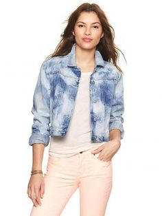 Jaqueta Gap Women's 1969 Bleached Cropped Denim Jacket Sonny Wash Sonny Wash #Gap#Jaqueta