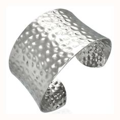 Bling Jewelry Wide Cuff Hammered Stainless Steel Bangle Bracelet