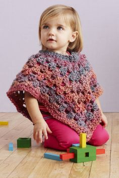 Baby Poncho is a Crochet pattern. This pattern is rated as being Easy (Level Finished size is months years) Finished Circumference 21 in. cm) at neck edge Finished Length 12 in. cm), (poncho will l Crochet Baby Poncho, Crochet Toddler, Crochet Poncho Patterns, Crochet Girls, Crochet Baby Clothes, Crochet For Kids, Baby Patterns, Easy Crochet, Baby Knitting
