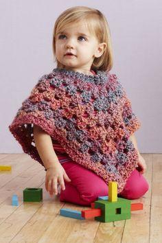 Free Crochet Pattern: Baby Poncho  Lion Brand® Homespun®  Pattern #: L0078AD  Lion Brand Yarn webiste