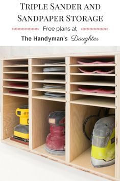 Get all your sanders and sandpaper in one place with this easy to build sander and sandpaper storage rack! Free woodworking plans at The Handyman's Daughter! | workshop organization | workshop storage | sander storage | sandpaper organization