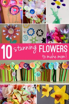 10 Fun Flower Crafts for Mother's Day Every mom loves to get flowers on Mother's Day, right? Homemade flower crafts made by the kids is even better in my book! Keep these flowers forever! Easter Crafts For Toddlers, Summer Crafts For Kids, Crafts For Kids To Make, Toddler Crafts, Art For Kids, Spring Art Projects, Projects For Kids, Craft Projects, Craft Ideas