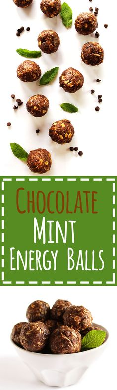 Chocolate Mint Energy Balls - These tasty energy balls are my go to pre breakfast/pre workout snack! They are packed with wholesome ingredients to fuel your body!This recipe is EASY to make! Mint Recipes, Raw Food Recipes, Brunch Recipes, Mint Chocolate, Vegan Chocolate, Chocolate Recipes, Chocolate Lovers, Healthy Vegan Snacks, Gluten Free Snacks