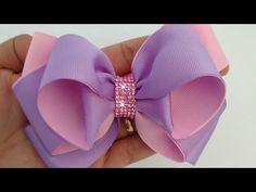 LAÇO NINA 🎀 - YouTube Ribbon Headbands, Ribbon Hair Bows, Diy Hair Bows, Diy Bow, Diy Ribbon, Ribbon Crafts, Homemade Bows, Hair Bow Tutorial, Boutique Hair Bows