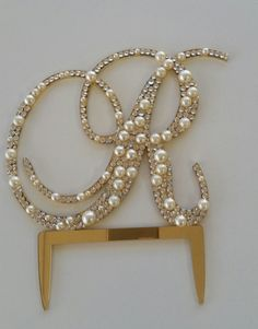 Monogram Pearl Cake Topper with Swarovski Crystals 6 by OCsparkles