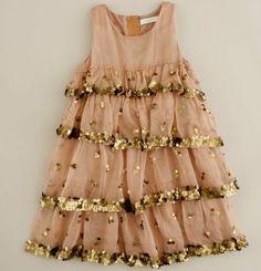 Sandy pink and gold girls dress. @Vinita Nita moonflower