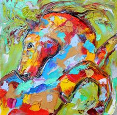 Original Portrait of a Horse palette knife by Karensfineart