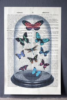 Prints made with vintage book pages, butterfly motif, Rockett St George