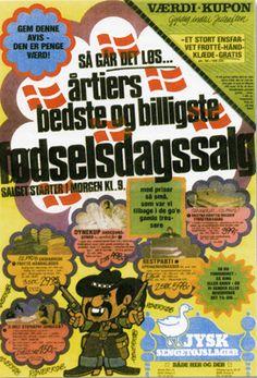 Forsiden på Jysk Sengetøjslagers første tilbudsavis i 1980.