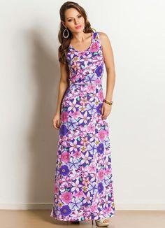 Vestido Longo Estampa Floral - Posthaus