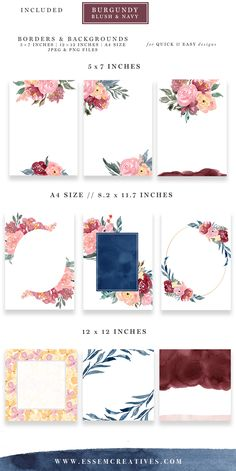 Burgundy Blush Pink Navy Blue Watercolor Backgrounds & Borders is a set of floral digital papers for quick & easy design projects. Use these backgrounds to make wedding invitations, birthday party invites, table numbers, flyers & posters, printable wall art and more. Click to check them out>>