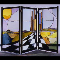 Stained Glass screen  private residence, 2008  Atlanta, GA - by Seranda Vespermann
