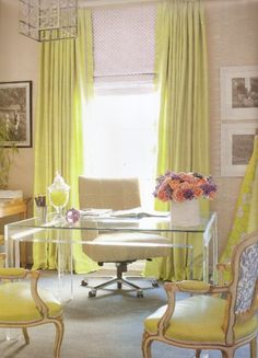 Office Décor: Natural light and bring colors make this office pop!