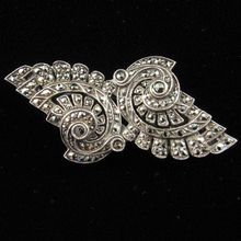 French Art Deco Silver and Marcasite Double-clip Brooch