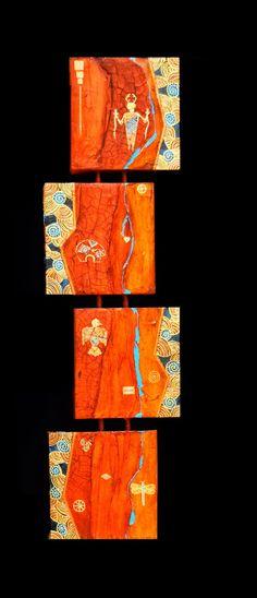 """Contemporary Artists of Arizona: Contemporary Southwest Art,Abstract Mixed Media, Shaman Painting """"Quadruvium CV"""" by Arizona Contemporary Artist Pat Stacy"""