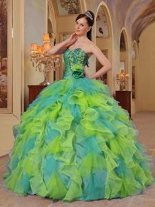 b6f6c9a6810 Colorful Beaded Organza Quinceanera Gown Dresses with Sweetheart Ruffles 15  Dresses