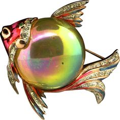 Vtg CORO Sterling Jelly Belly Metallic Enamel Rhinestone Fish Figural Brooch Pin
