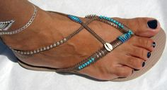 BOHO handmade sandals Turquoise & Silver Sterling beaded bronze Rose Gold Havaianas flip flops  You can decorate your hands, ears, neck- but also …