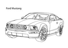Super car Ford Mustang coloring page, cool car printable free