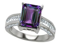 925 Sterling Silver 14K White Gold Plated Lab Created Emerald Cut Alexandrite Engagement Ring
