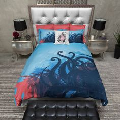 Lightweight Octopus Bedding Octopus Design Deep Sea Blue With Red... ($119) ❤ liked on Polyvore featuring home, bed & bath, bedding, duvet covers, home & living, white, twin duvet, king size pillow case, white king duvet and king size pillowcases