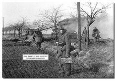 Germans walk past a Russian T-34-85 tank. Pomerania. February, 1945